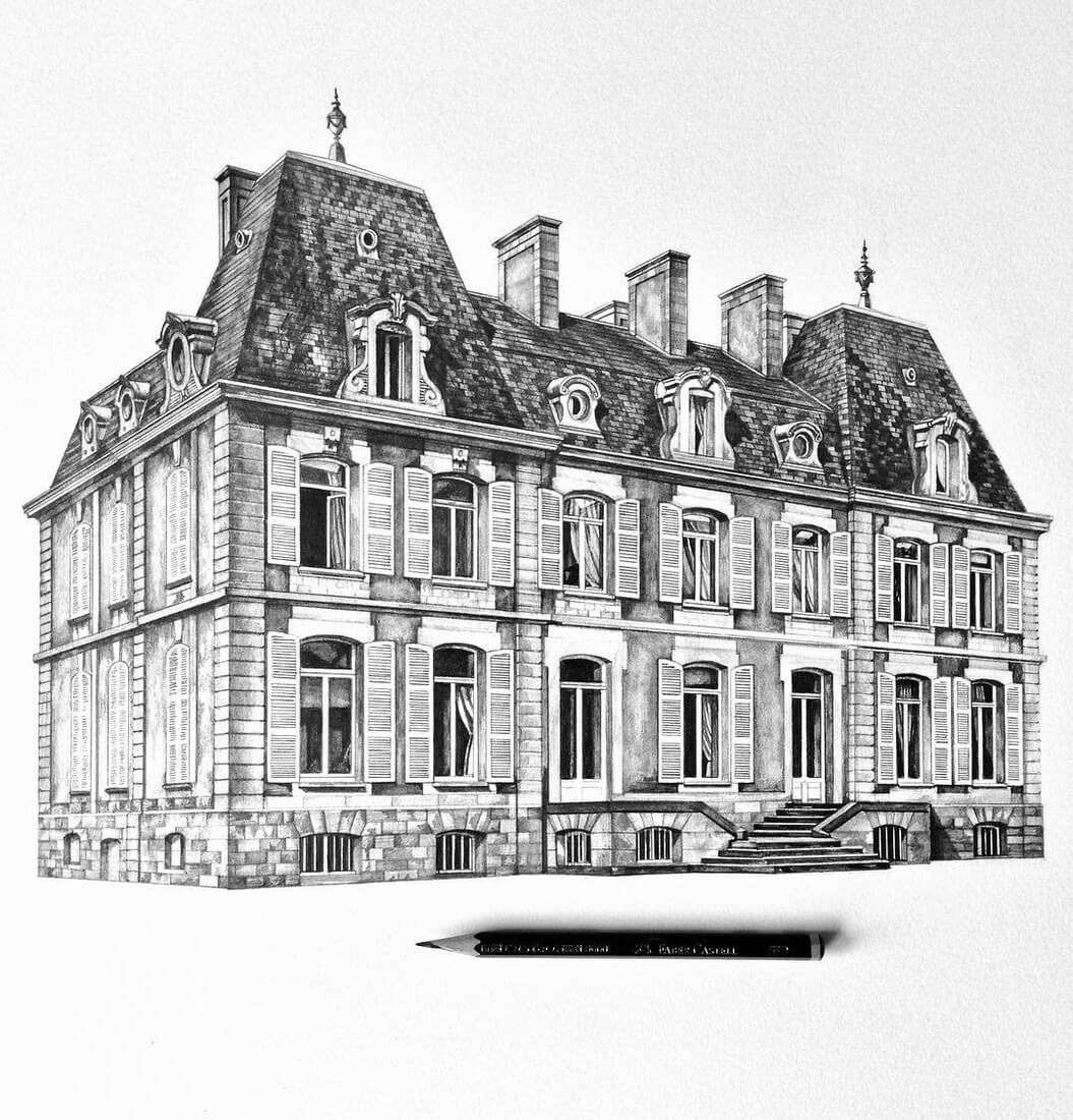 02-Chateau-in-France-Minty-Sainsbury-Traditional-Architecture-Drawings-in-Pencil-www-designstack-co