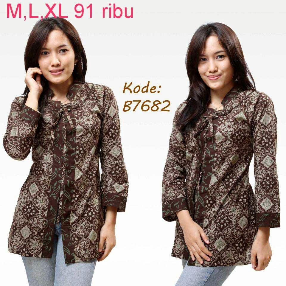 Baju Batik Atasan Wanita Kerja: Contoh Model Baju Batik Wanita