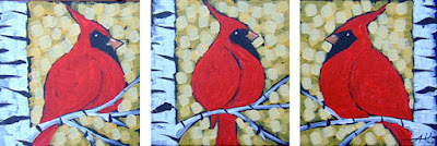 Sunset Sky Triptych painting by artist aaron kloss, cardinals on gold, painting of cardinals, triptych with cardinals, birch trees, duluth, aaron kloss