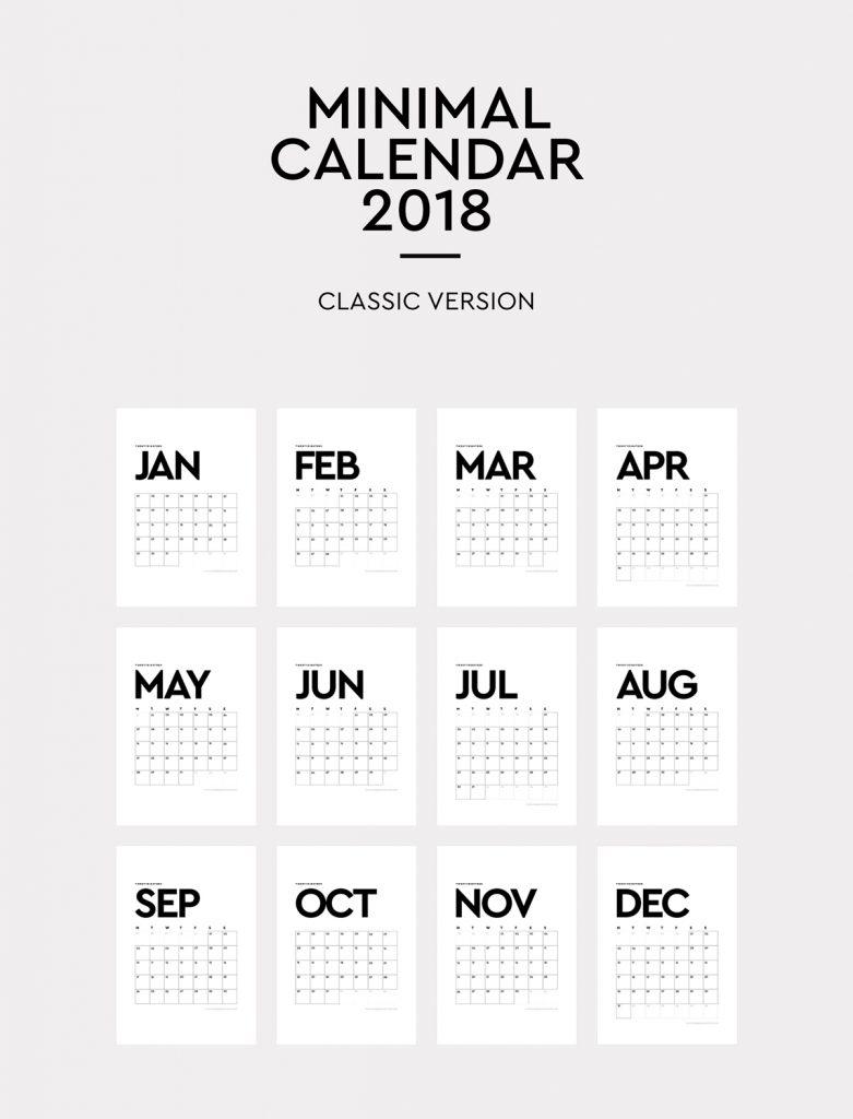 2018 Calendar Minimalist Printable : Calendário minimalista para baixar e imprimir grÁtis