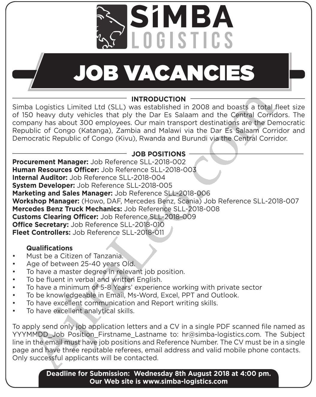 Job Vacancies In Different Posts at Simba Logistics Tanzania Ltd