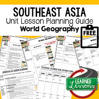 Southeast Asia geography lesson plans, world geography lesson plans, geography activities, world geography games, world geography middle school, world geography high school