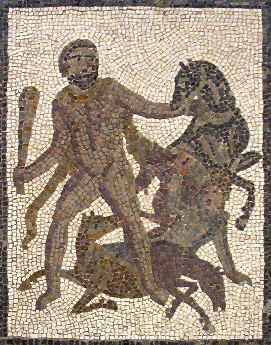 Hercules capturing the Mares of Diomedes. Roman mosaic, 3rd century AD from Valencia, Spain