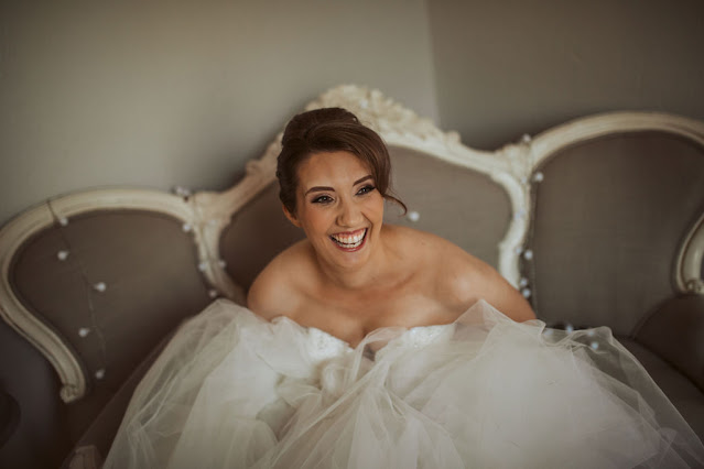 Bridal fun in wedding gown