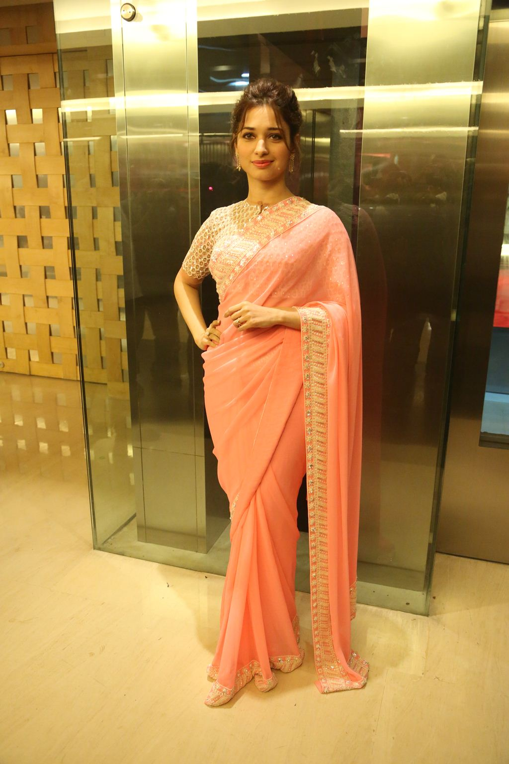 Actress Tamannaah Stills In Designer Pink Saree