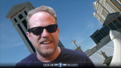 Greenscreen effect of Steve #5 overtop of Caesars Palace backdrop