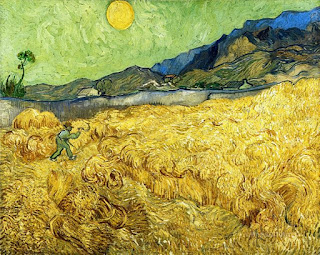 Vincent Van Gogh's fine art painting of Wheatfield with Reaper