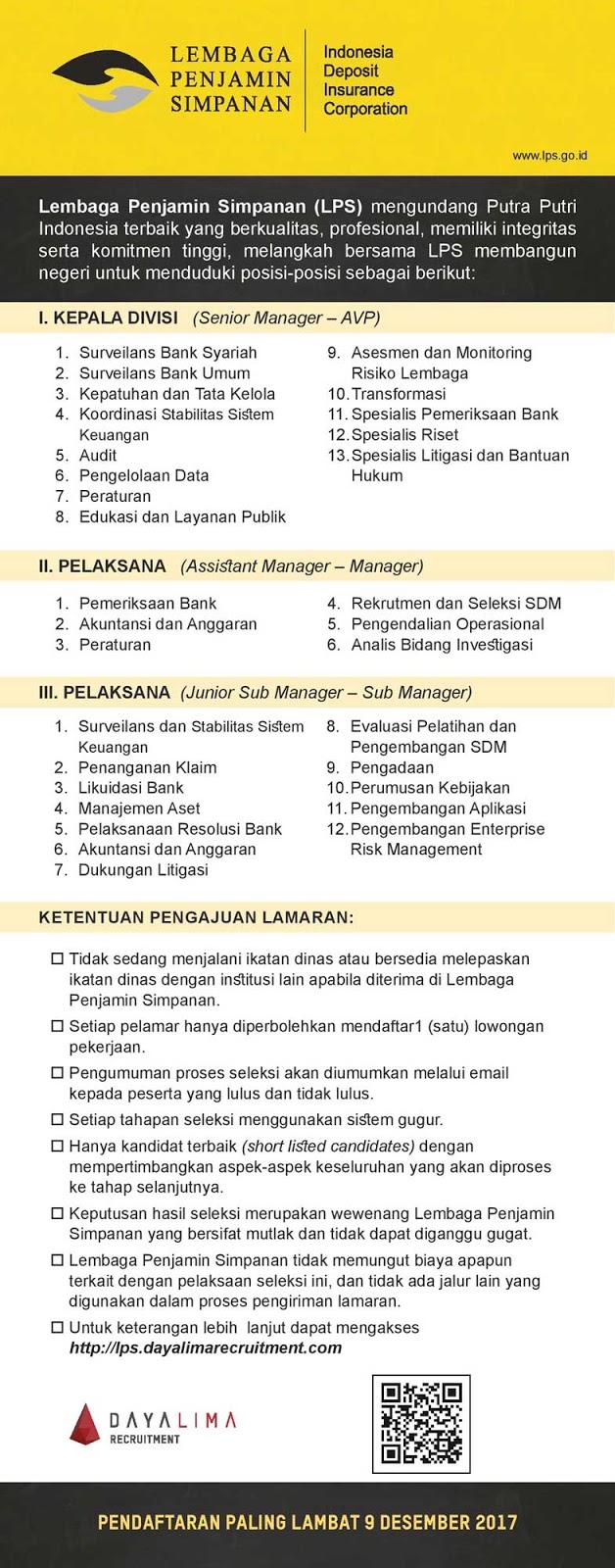 Lowongan Kerja Lembaga Penjamin Simpanan (LPS)