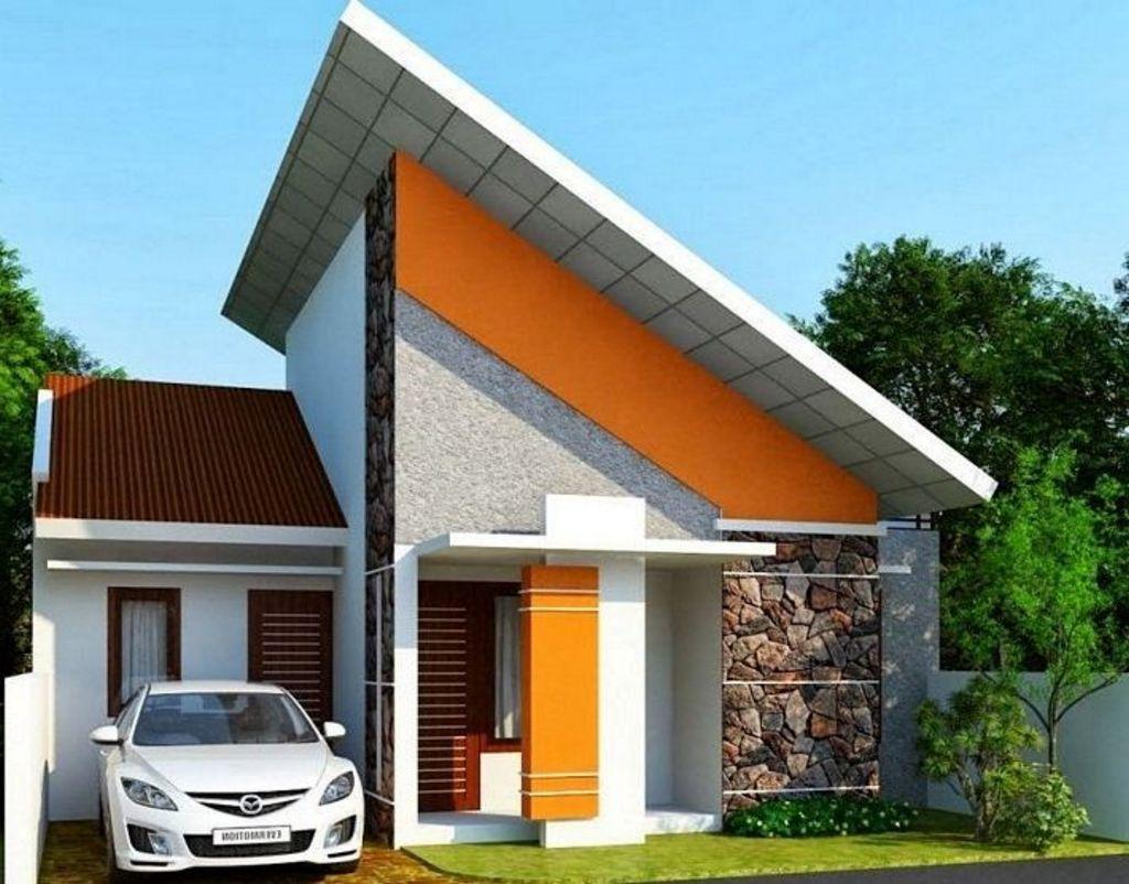 gambar rumah mungil atap miring inspiratif
