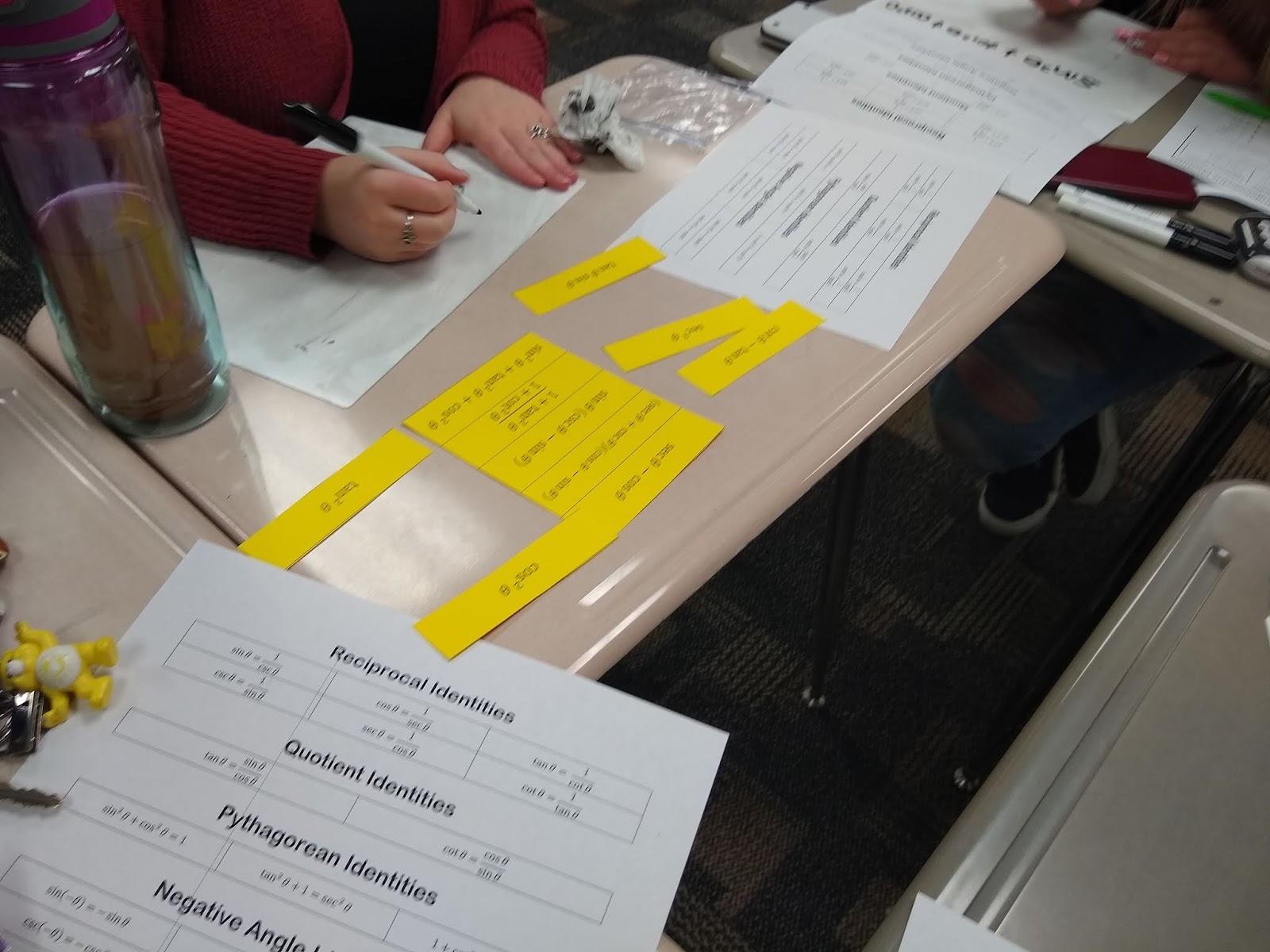 Math Love Trig Identity Match Up Activity