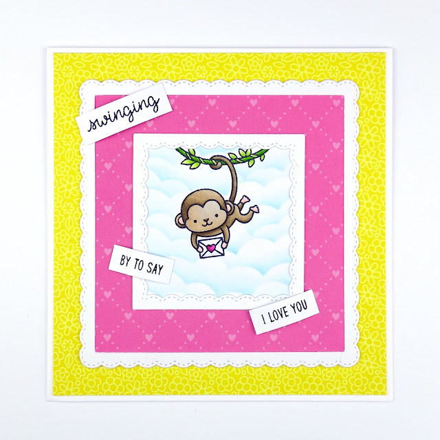Handcrafted cute monkey love card using Love Monkey by Sunny Studio