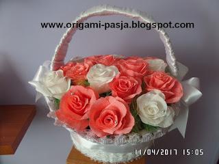 kwiaty, róże, sztuczne, gipiura, biały, kosz, krepina włoska, bibuła, wiklina, papierowa, ślub, chrzest, duży, komunia