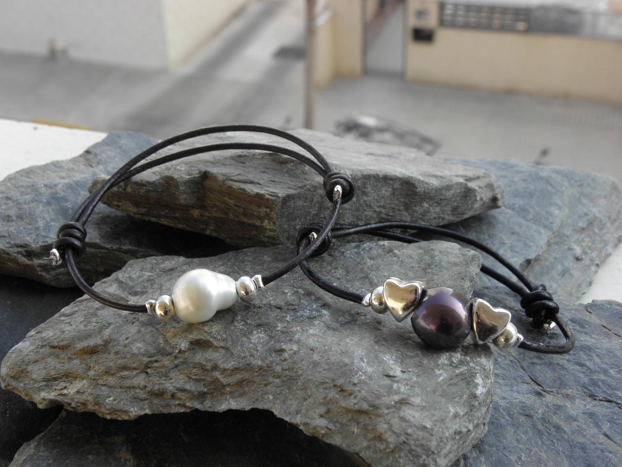 c33bb43cfe4a Mans Mágicas ABALORIOS  pulseras cuero y perlas