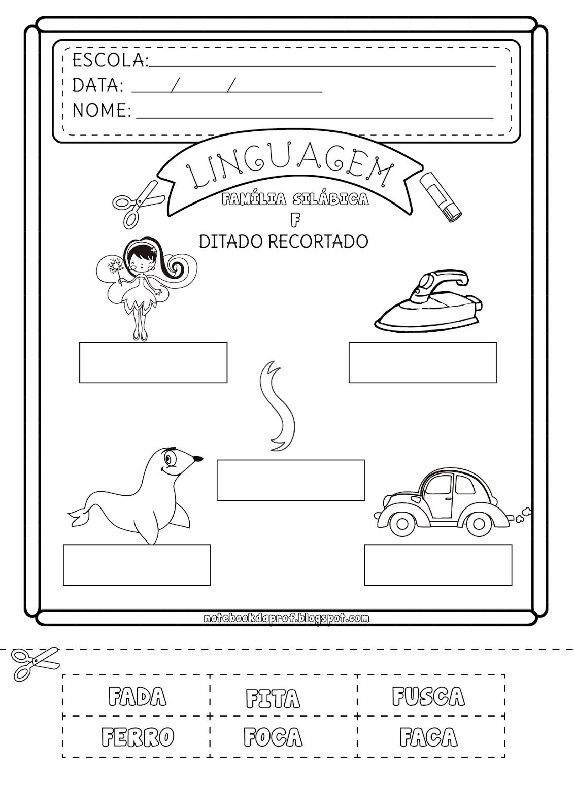 Notebook Da Profa Ditado Recortado Letra F