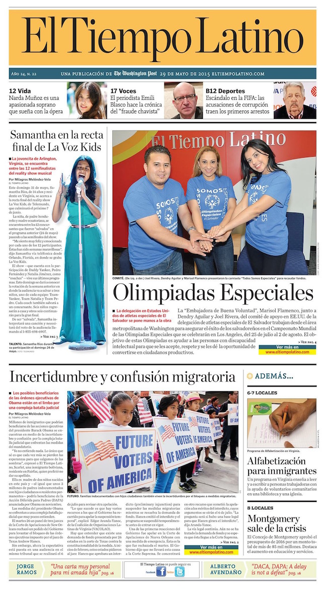 Portada El Tiempo Latino- The Washington Post- Marisol Flamenco-Mari Estilo- Olimipiadas Especiales El Salvador