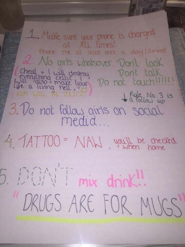 Lol. See 10 commandments girl wrote for her boyfriend as he travels overseas for holiday