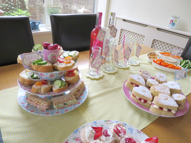 Home made birthday afternoon tea food and drink on Cath Kidston plates perfect for Spring