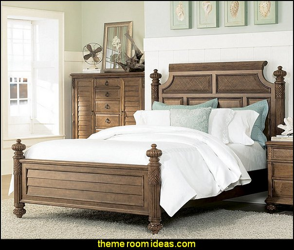 American Drew Grand Isle Island Panel Bed in Amber Finish tropical bedroom furniture