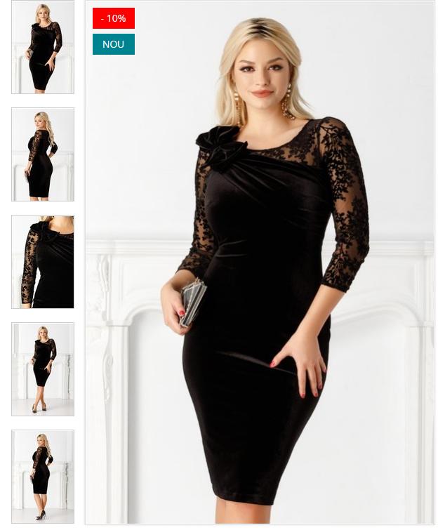 Rochie eleganta cu dantela neagra din catifea cu funda la umar