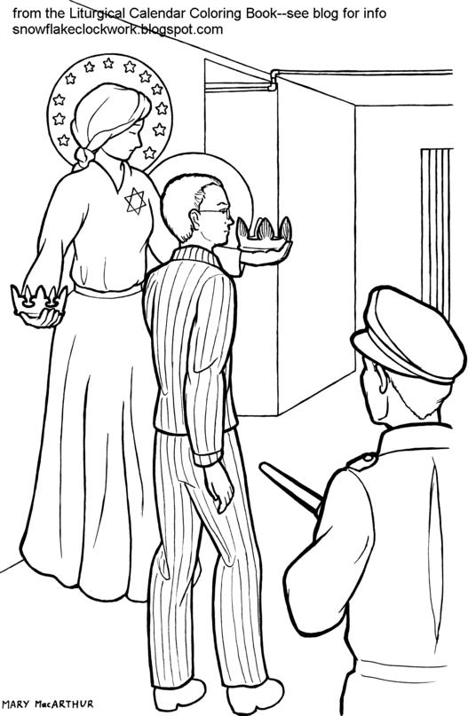 saint maxamillion kolbe coloring pages | Snowflake Clockwork: St. Maximilian Kolbe coloring page