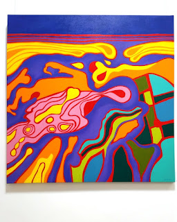 A vividly colourful large, square abstract work based upon the shapes of the landscape around the mouth of the Murray River viewed from the air. The palette of saturated solid colours includes blues, purples,oranges, yellows, greens and pinks.