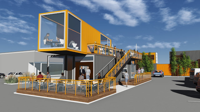 pop up cafe made with shipping container container