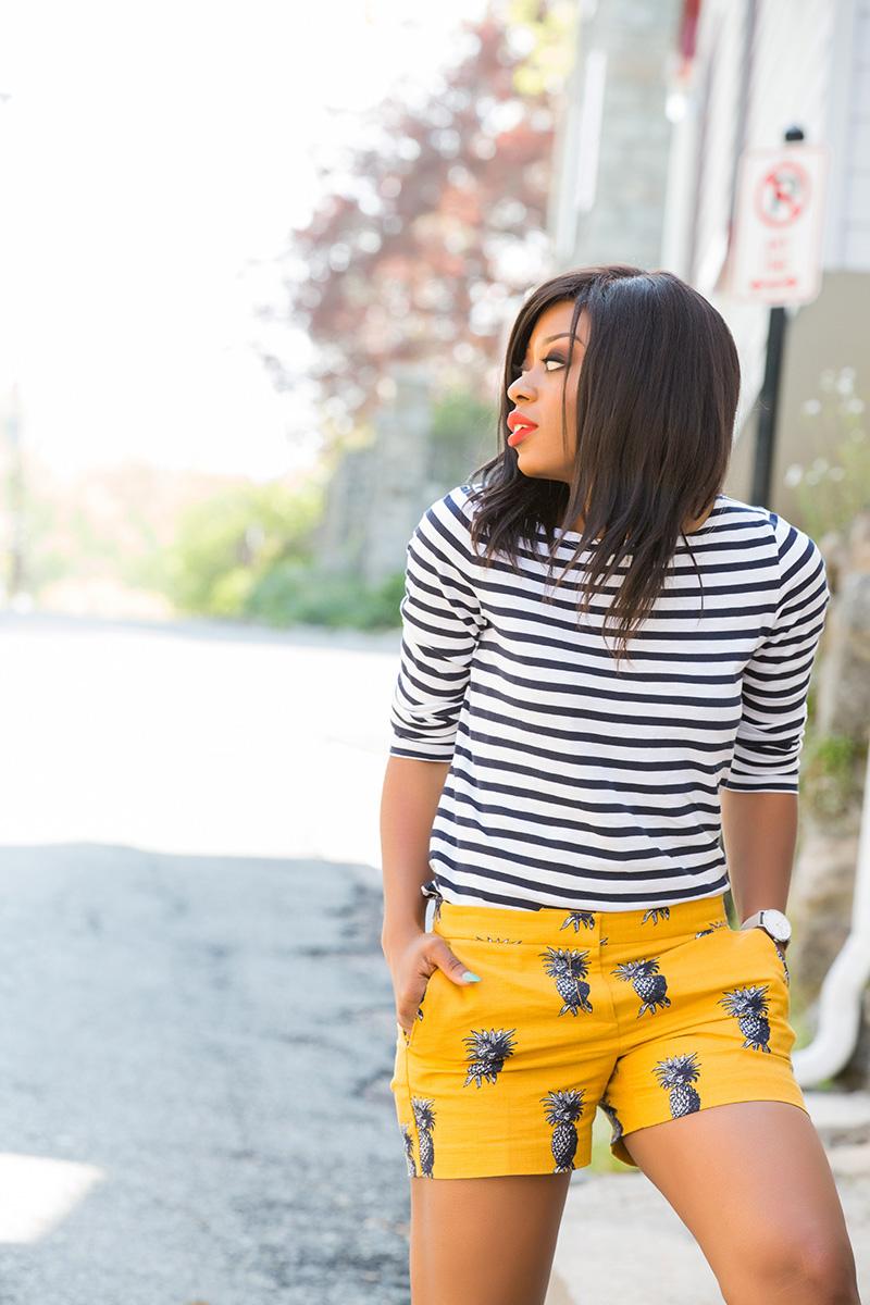 Ann taylor pineapple print shorts, jcrew stripe top, www.jadore-fashion.com