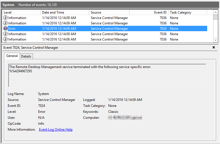 IT in the Frozen Tundra: The Remote Desktop Management service fails