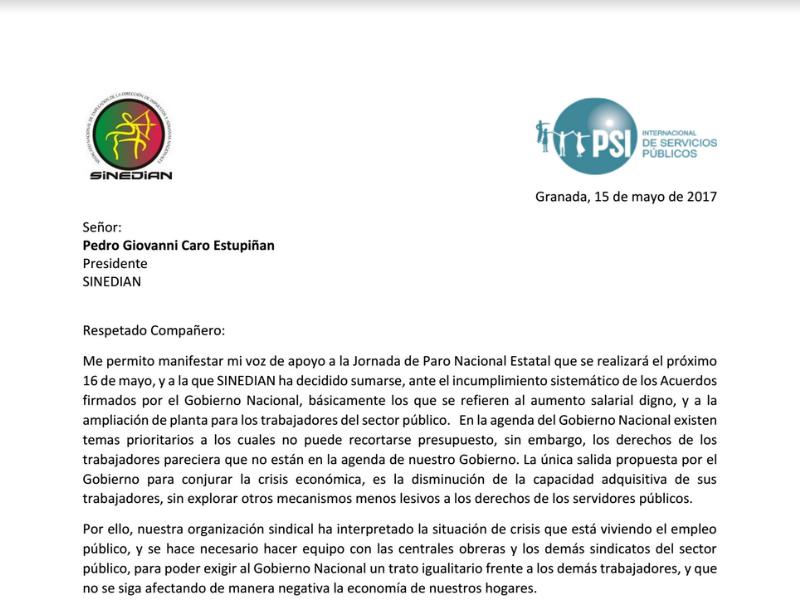 Carta Pedro Barrera Delegado SINEDIAN ISP-Colombia ante la Conferencia Mundial OIT en apoyo a a la Jornada de Paro Nacional Estatal