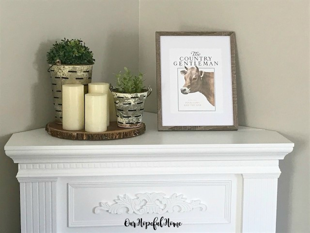 The Country Gentleman cow picture LEd candles olive buckets boxwood balls