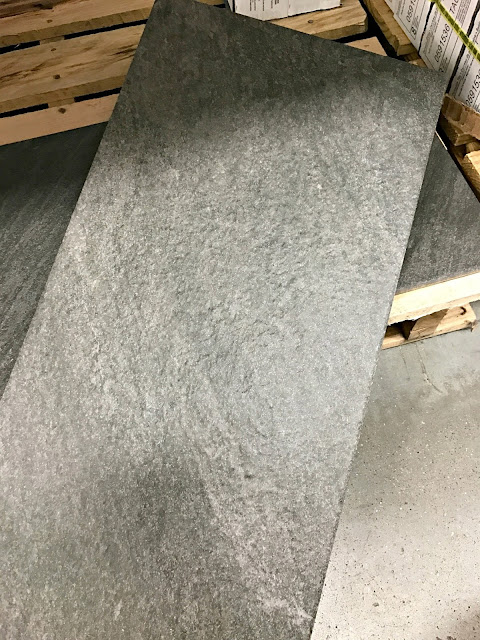 Dark gray stone-looking tile