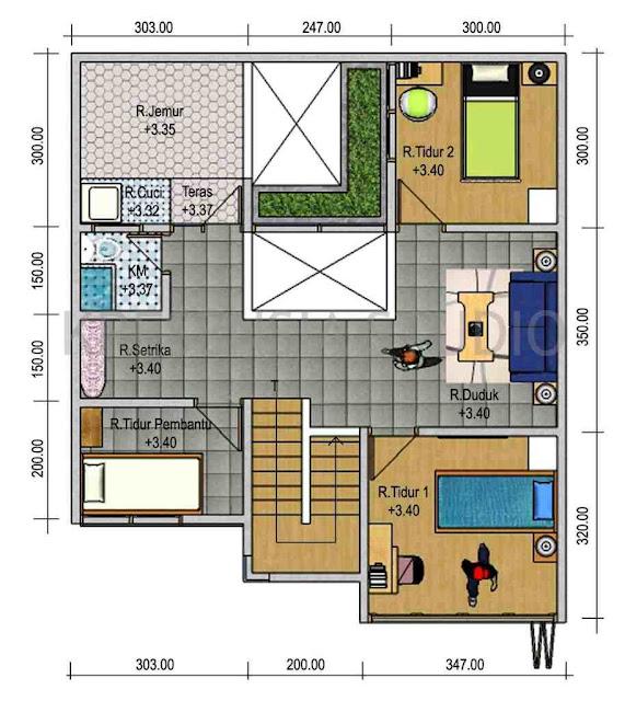 Denah Rumah Minimalis Idaman Sederhana Type 45