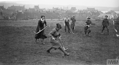 WAACs and convalescent soldiers playing grass hockey at Etaples, 1 May 1918, IWM Non Commercial Licence © IWM (Q 8760)