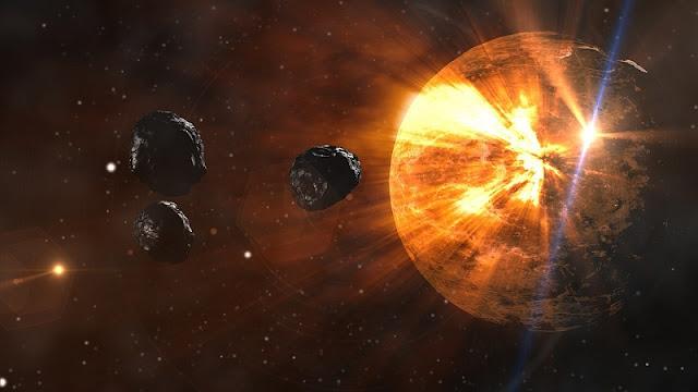Ilustrasi asteroid yang akan jatuh ke Bumi yang akan menimbulkan Shiva Impact