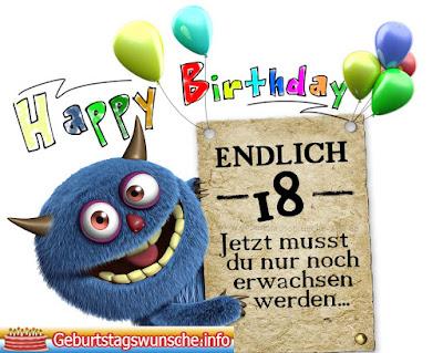 Glückwünsche zum 18. Geburtstag