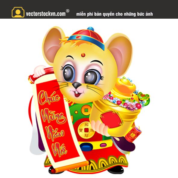 Chuột vàng file in lịch tết 2020