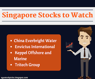 Stocks to watch - China Everbright Water, Envictus International, Keppel, Tritech