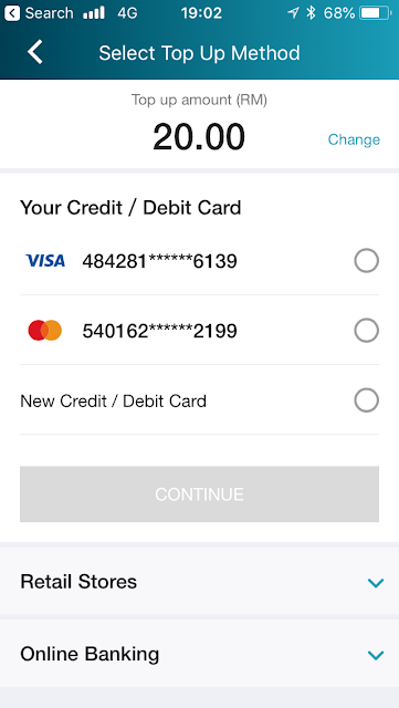 Lazada e-wallet - top up via credit card / debit card