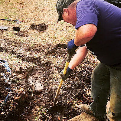 A plumber wearing a purple shirt bends over a shovel as he digs into the mud of a yard