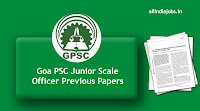 Goa PSC Junior Scale Officer Previous Papers