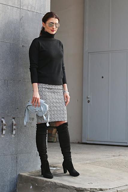 spódnica ołówkowa, jak nosić, spódnica, confitura, klasycznie, klasyka, czarny golf, myBag, lustrzanki, novamoda style, do pracy, w czym do pracy, zimowa moda, zimowe stylizacje, street style, street style zima, buty za kolano,