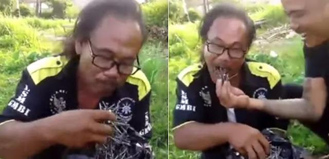 Anggar Jago !! Anggota GMBI Pamer Kesaktian Makan Paku...Kmaren di Tantang Kemana Bro?