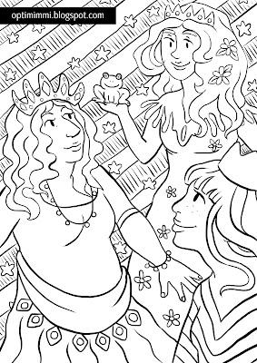 A coloring page of princesses and a frog / Värityskuva prinsessoista ja sammakosta