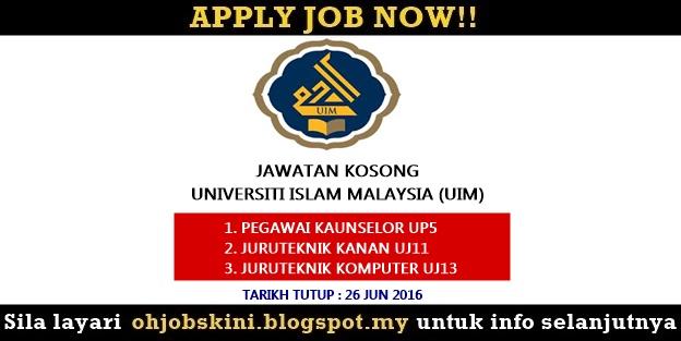 Jawatan Kosong Universiti Islam Malaysia (UIM)