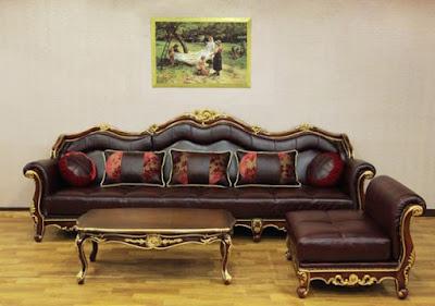 sofa tamu sudut ukiran mewah