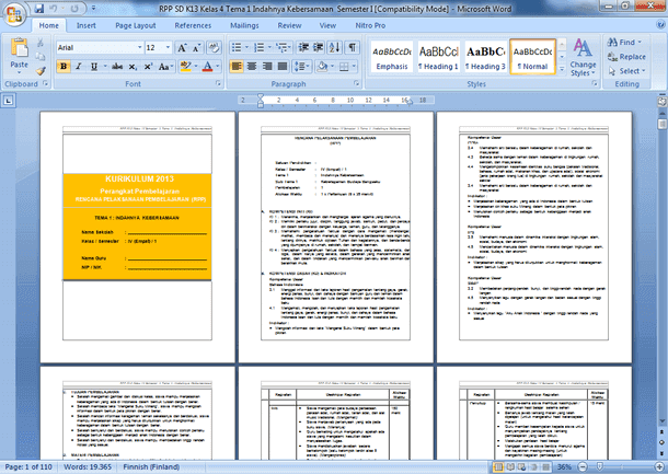Perangkat Pembelajaran Kelas 4 (IV) Revisi 2018 Kurikulum 2013 Semester 1 dan 2