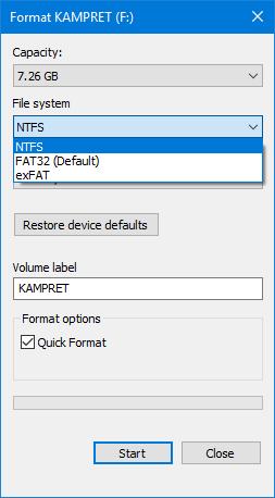 Format Flashdisk NTFS