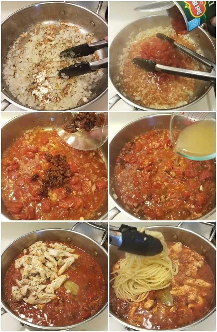 Preparación de la salsa y terminado de la receta. Collage de 6 fotos