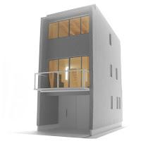 ローコストで建てるすがすがしい木造三階建て狭小都市型住宅
