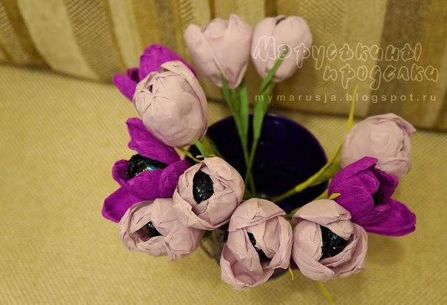 цветы из конфет на 8 марта